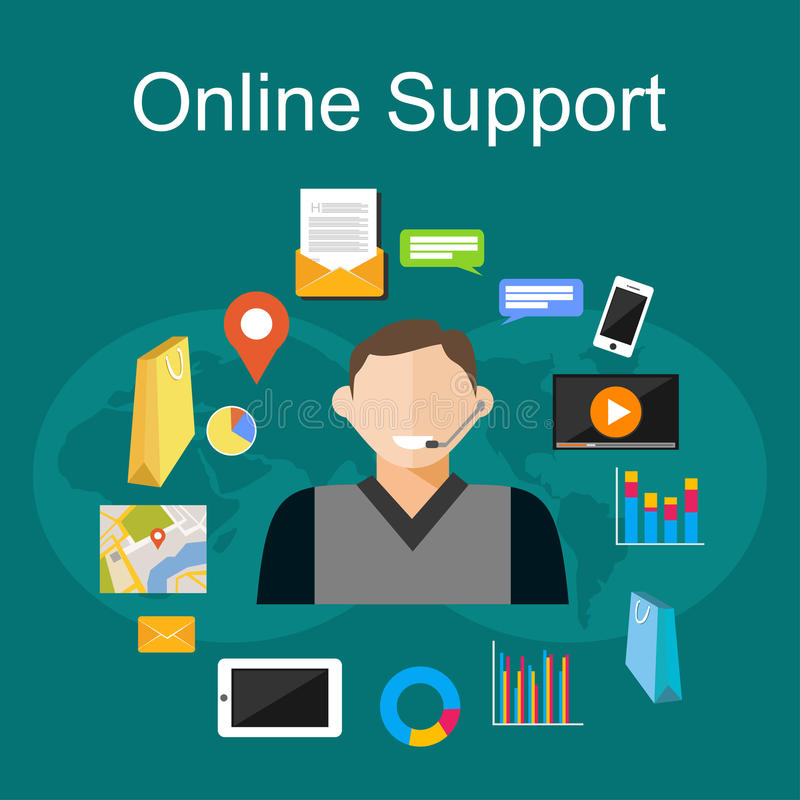 Online support illustration. Flat design illustration concepts for customer support, technical support, consulting, service. royalty free illustration