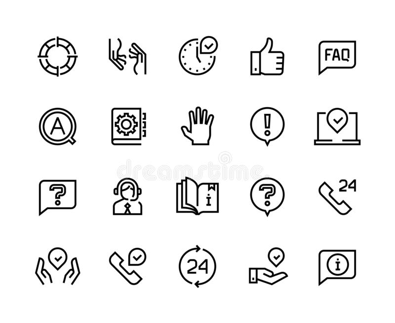 Online support line icons. Service customer help information chat call assist info user manual guide. Customers support stock illustration