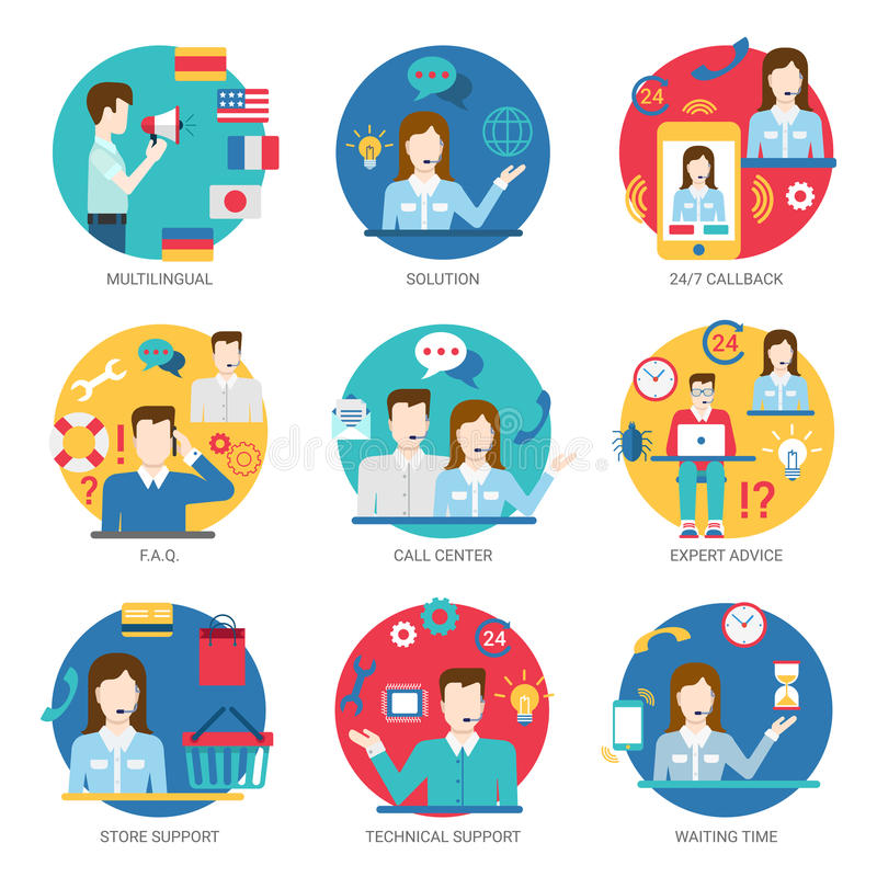 Online support service people staff workers icon set flat style stock illustration
