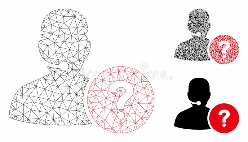 Online Support Vector Mesh Carcass Model and Triangle Mosaic Icon. Mesh online support model with triangle mosaic icon. Wire carcass triangular mesh of online royalty free illustration