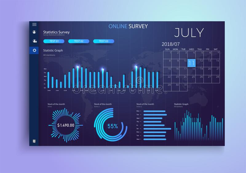 Online survey, checklist.Statistics, schedules the table, a template for the website. Vector stock illustration