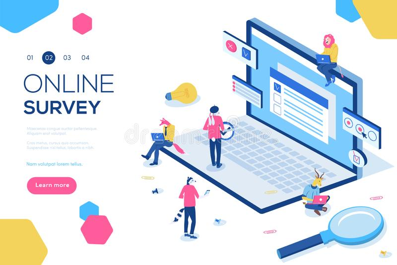 Online survey concept with characters. Can use for web banner, infographics, hero images. Flat isometric vector stock illustration