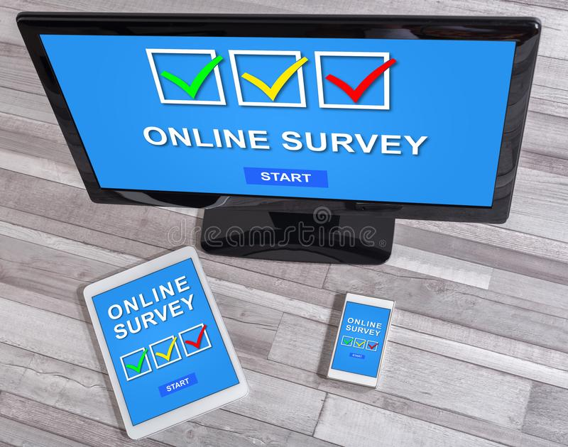 Online survey concept on different devices stock photography