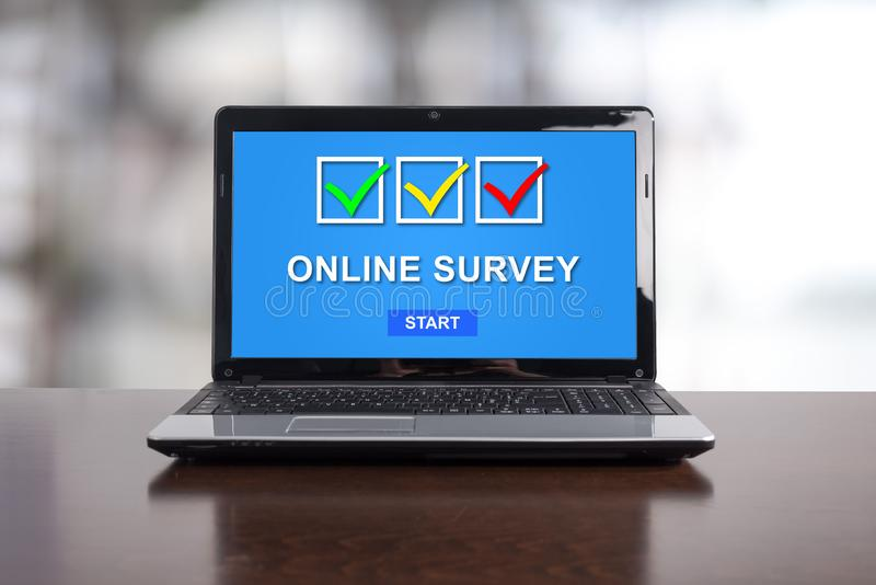 Online survey concept on a laptop vector illustration