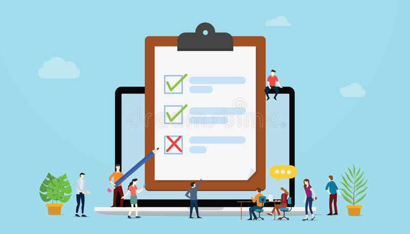 Online survey concept with people and checklist surveys on paper clipboard with laptop - vector vector illustration