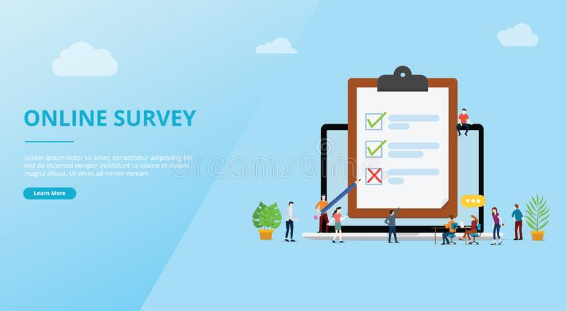 Online survey concept with people and checklist surveys for website template banner design - vector stock illustration