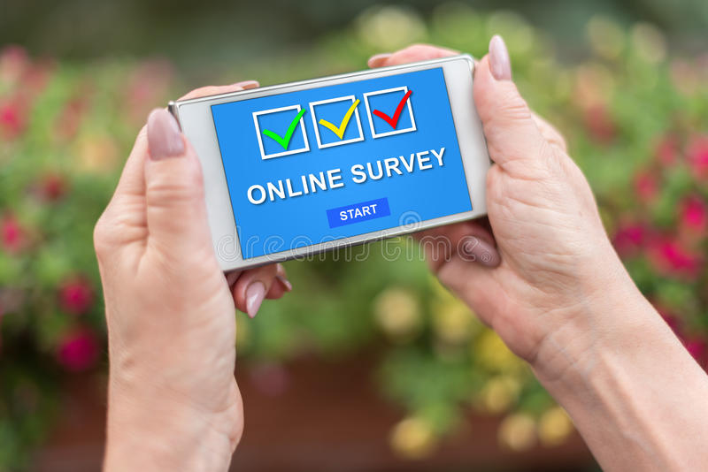 Online survey concept on a smartphone stock photos