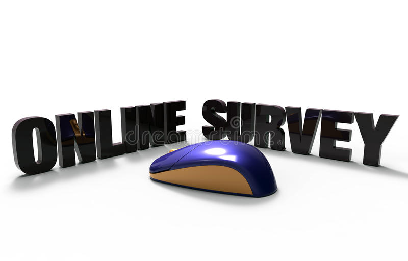 Online survey. 3D Glowing purple computer mouse with online survey extruded text on white background royalty free illustration