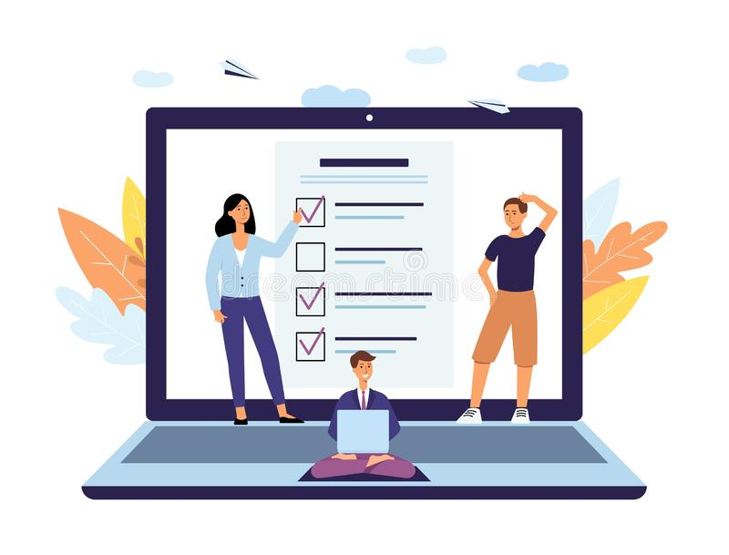 Online survey, poll and checklist form concept with questionnaire, people and laptop. stock illustration