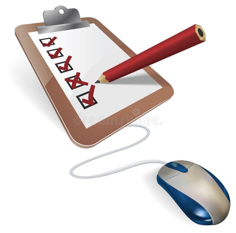 Online survey or questionnaire concept. A mouse connected to a survey questionnaire. Concept for online internet survey, test, census, election or research stock illustration