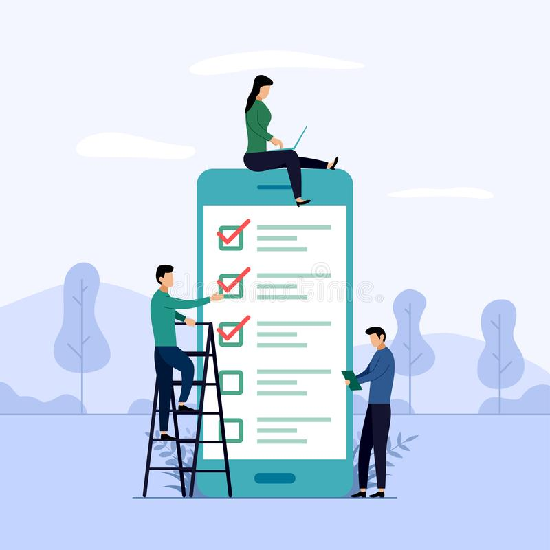 Online survey report, checklist, questionnaire, business concept  illustration stock illustration