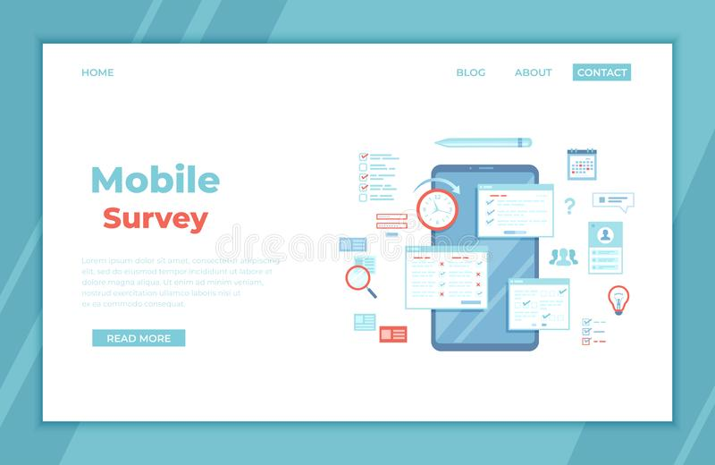 Online Survey Testing Questionnaire. Phone screen with online filling forms and check marks. Vote, checklist, examination, feedbac vector illustration