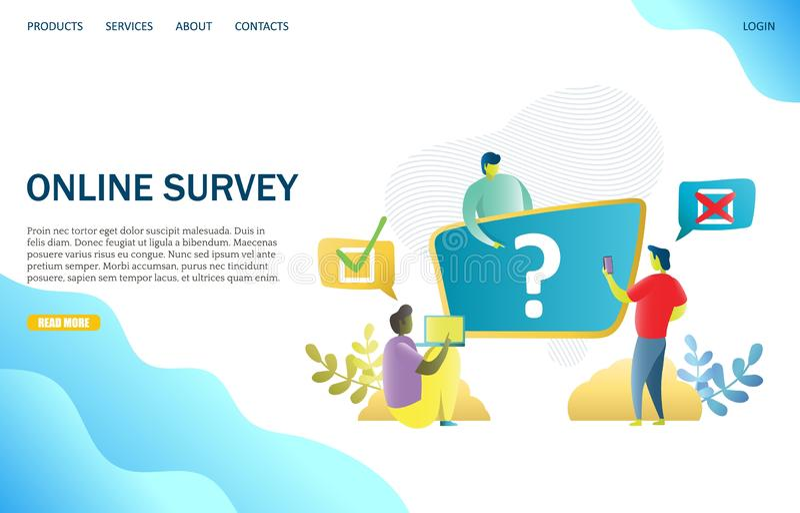 Online survey vector website landing page design template. Online survey vector website template, web page and landing page design for website and mobile site stock illustration