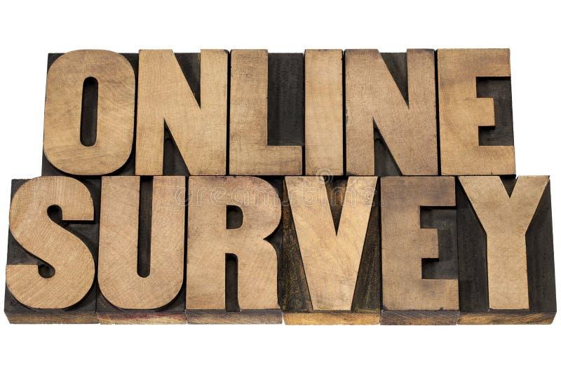 Online survey in wood type stock photo