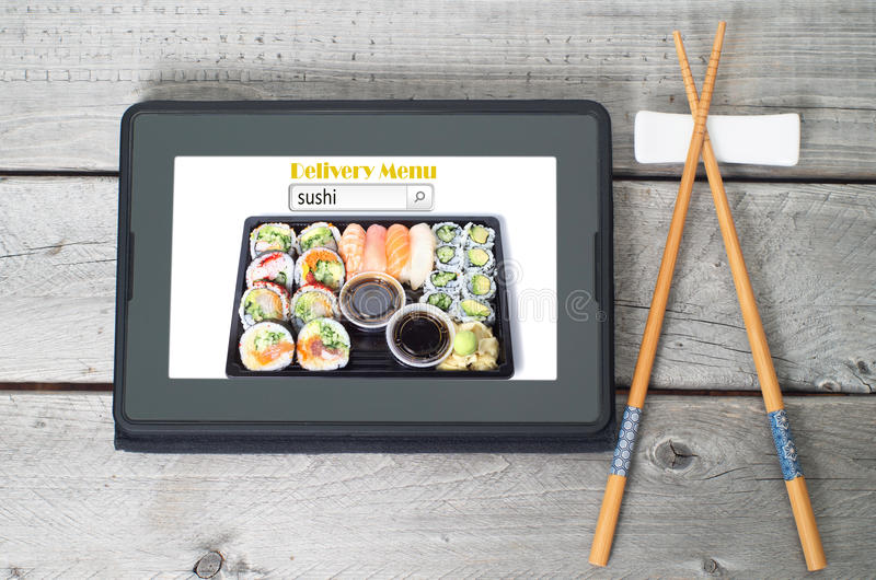 Online sushi delivery menu concept stock photography