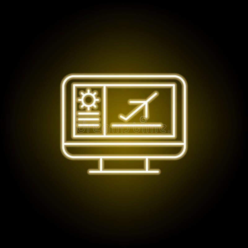 online-symbol f?r plan biljett i neonstil Tecknet och symboler kan anv?ndas f?r reng?ringsduken, logoen, den mobila appen, UI, UX stock illustrationer