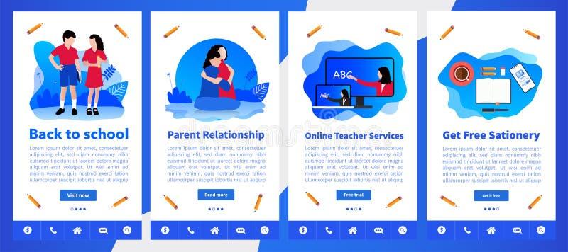 Online szkoły, nauczania online prosty interfejs użytkownika UX lub, UI parawanowy szablon mobilnego mądrze telefonu lub wyczulon royalty ilustracja