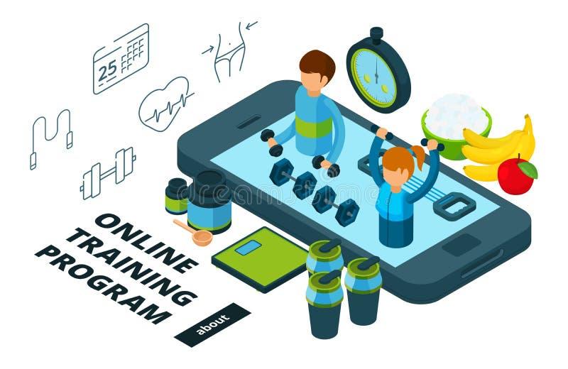 Online szkolenie i karmowy program Isometric wektorowa sporta app ilustracja ilustracji