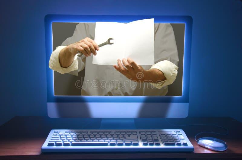 Online szkolenie pomocy technicznej edukacja i zdjęcie stock