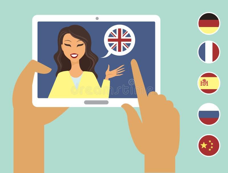 Online taal het leren concept stock illustratie