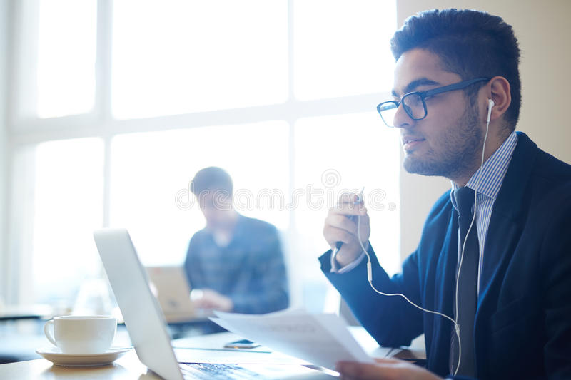 Online talking. Job seeker communicating with employer through video-chat stock photo