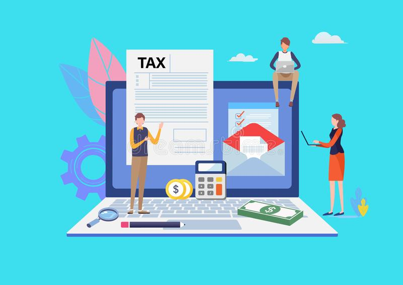Online Tax payment. Filling tax form. Business concept. People vector illustration. Flat cartoon character graphic design. vector illustration