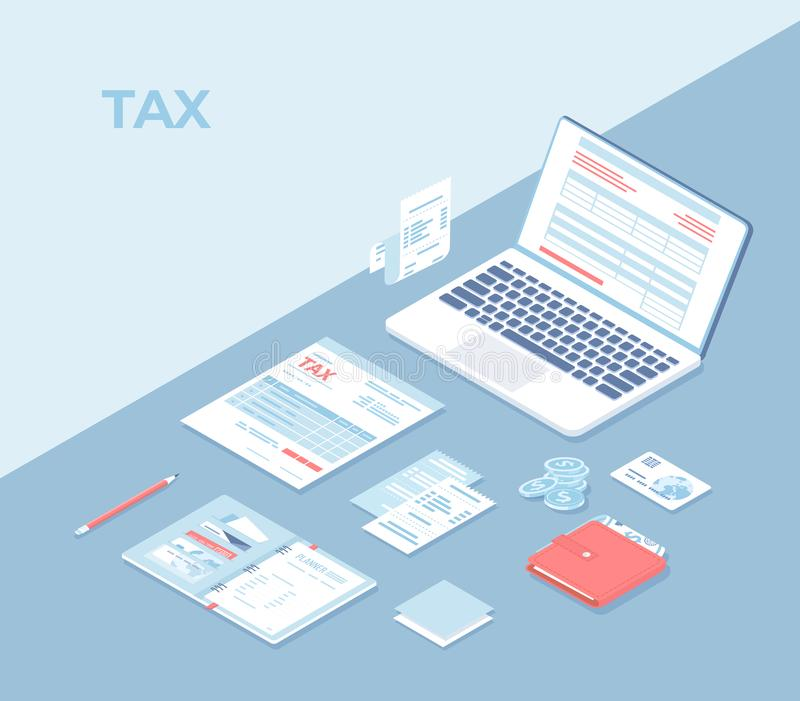 Online tax payment, mobile app. Filling tax form via computer. Tax form, laptop, documents, bills, notebook, wallet with money royalty free illustration