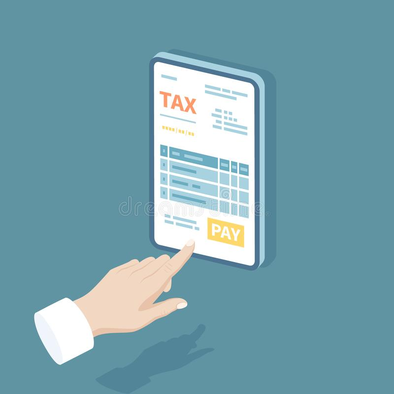 Online tax payment via phone. Mobile phone with tax form on screen. Man finger presses the pay button. Internet banking concept. royalty free illustration