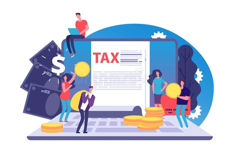 Online tax vector concept. Tax form and tiny people with money on notebook. Bill payment online vector illustration