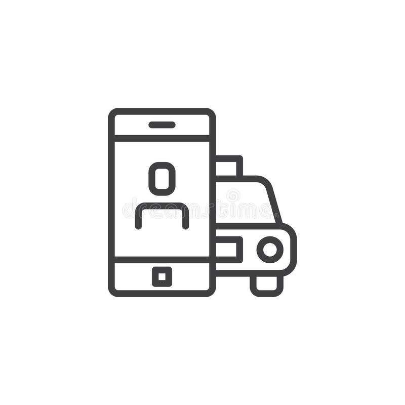 Online Taxi booking app line icon stock illustration