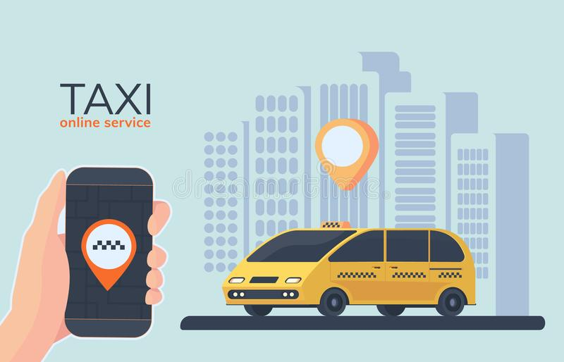 Online taxi car service. Online cab booking. Service for transportation passengers. Mobile phone in hand. Minivan. stock illustration