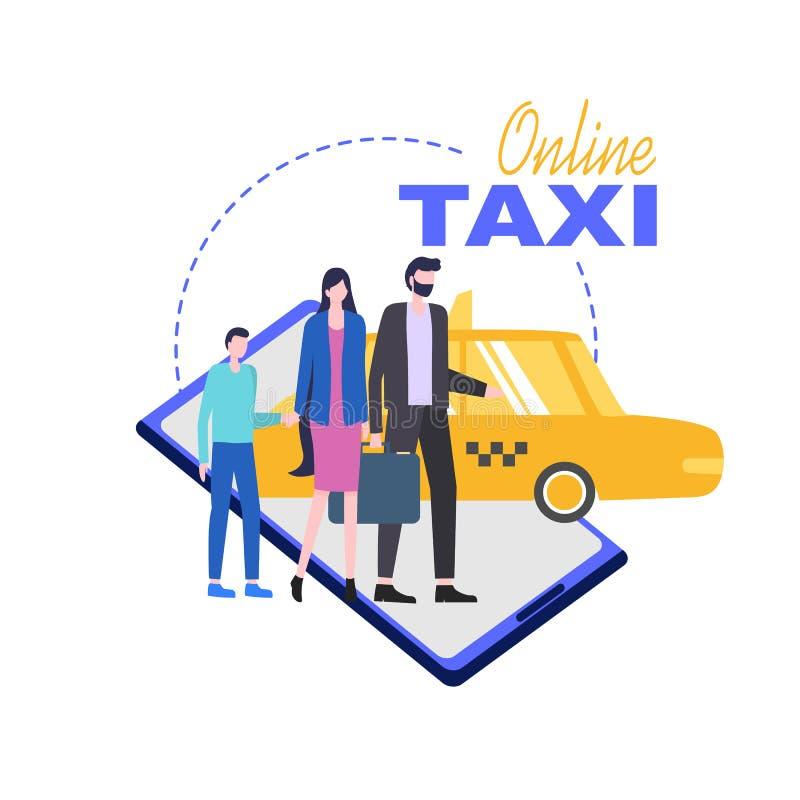 Online Taxi Mobile Phone Service Illustration. Online Taxi Mobile Phone Service Vector Illustration. Order Car Home Business Computer Smartphone Tablet vector illustration