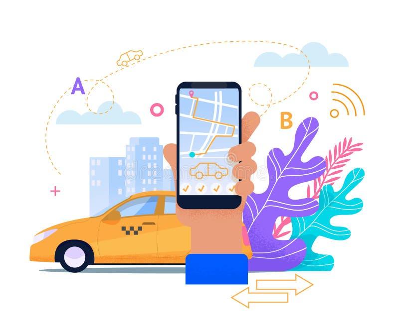 Online Taxi Mobile Service. Flat Application. vector illustration