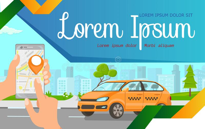 Online Taxi Ordering Flat Web Banner Template. Hands Holding Smartphone with Cab Pinpoint, Car Riding on Map Cartoon Drawing. Transport Rental Application. Car stock illustration
