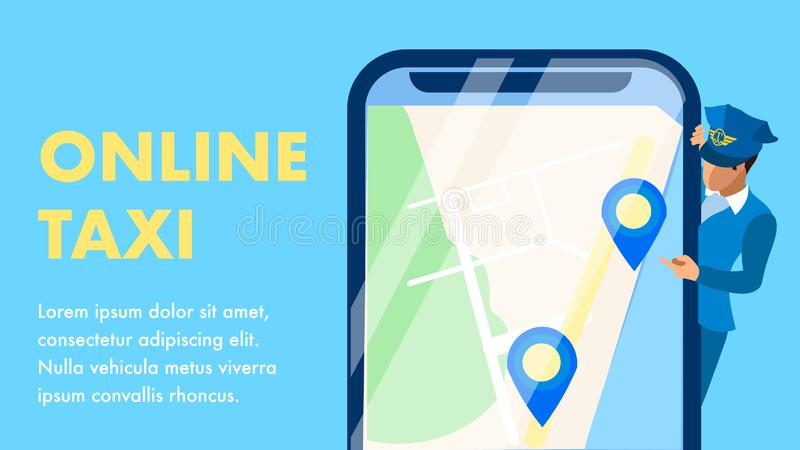 Online Taxi Service Flat Banner Vector Template. Chauffeur Checking Route Cartoon Character. Cab Call Application, Car Delivery, City Travel Business royalty free illustration