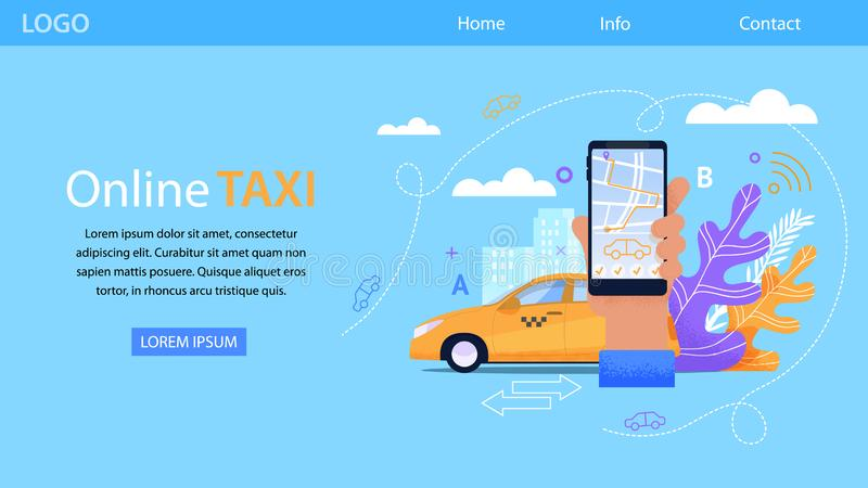 Online Taxi Service. Yellow Cab Flat Illustration. Outline Design Landing Page for Car Booking Advertising. Horizontal Smartphone App Concept for Urban stock illustration