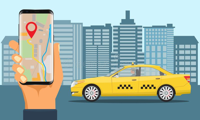 Online Taxi service. Yellow taxi cab and hand holding smartphone with taxi application. royalty free illustration