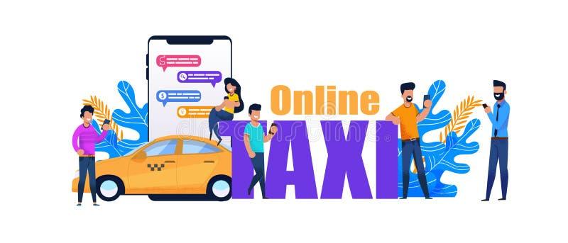 Online taxi Smartphone książka Żółty miasto transport ilustracja wektor