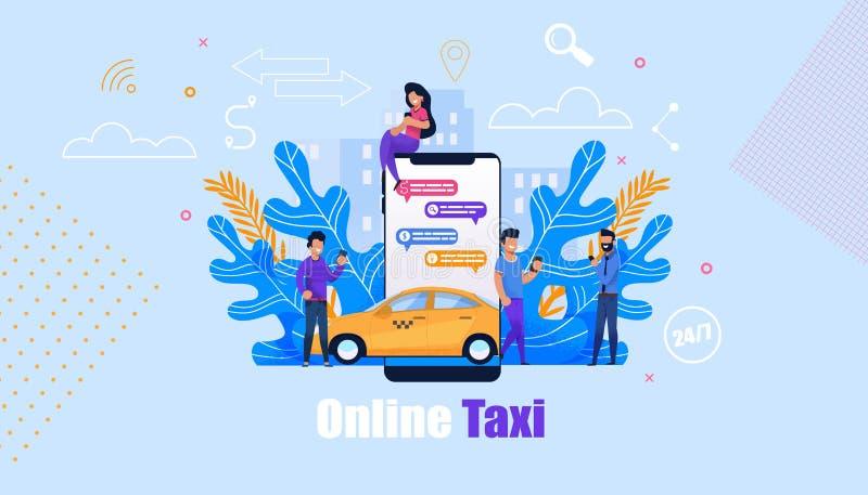 Online taxi usługa Płaski Mobilny App Żółty samochód ilustracji