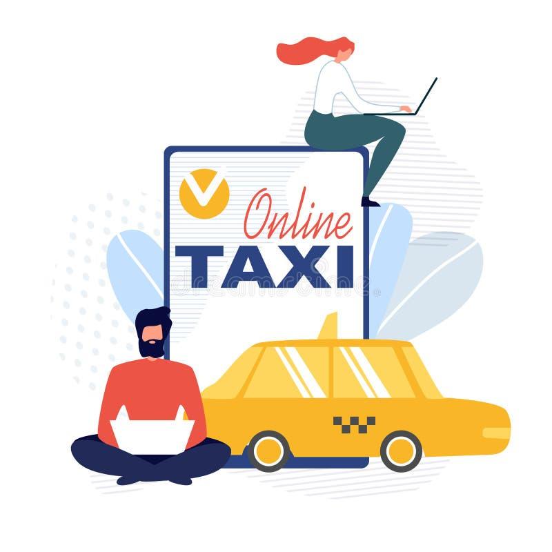 Online Taxiaffiche die Mobiele Toepassing adverteren royalty-vrije illustratie
