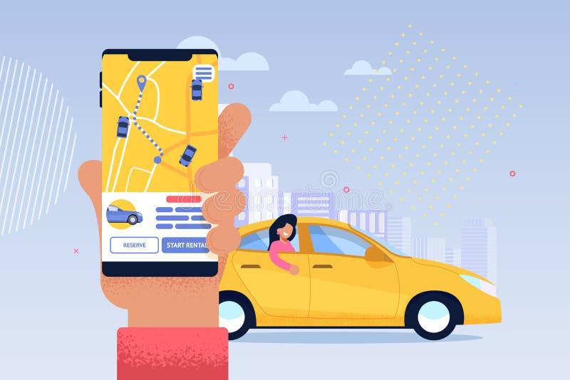 Online-taxiserviceapplikation Dela för transport royaltyfri illustrationer