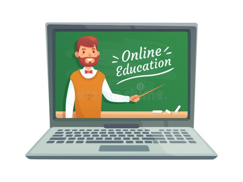 Online teacher education. Professor teach at school blackboard on laptop screen. Remote learning training vector stock illustration