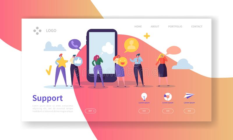 Online Technical Support Landing Page Template. Assistance Service Website Layout with Flat People Characters Operator. Online Technical Support Landing Page stock illustration