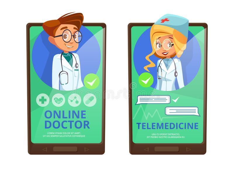 Online-tecknad film för doktorstelemedicinevektor stock illustrationer