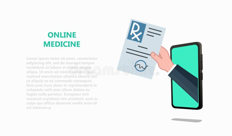 Online tele medicine, drugstore, pharmacy concept. Doctor`s hand holding rx through the smartphone screen giving the prescription to patient. Healthcare vector stock illustration