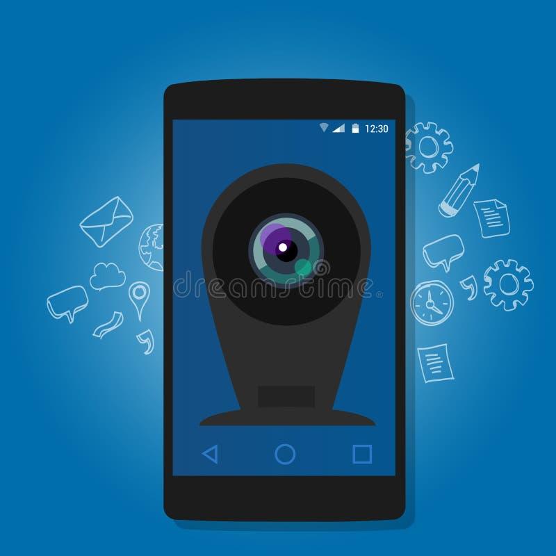 Online telefon komórkowy kamery kamery internetowej ochrony inwigilaci internet ilustracji