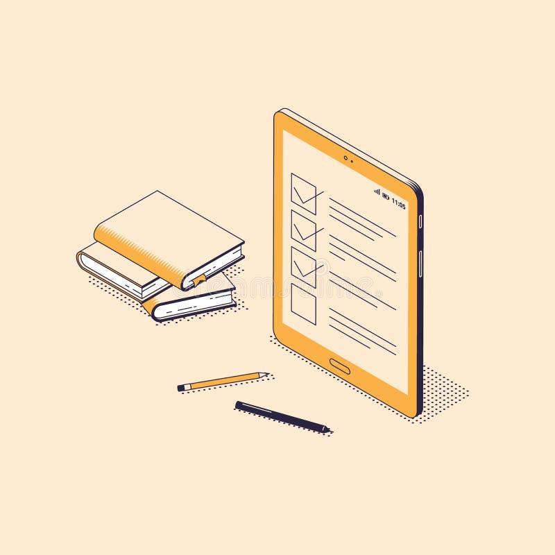 isometric flat vector concept of online exam