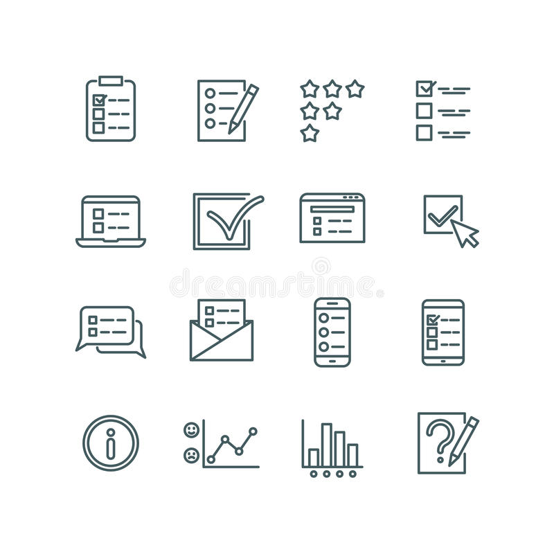 Online test, internet quiz, questionnaire, survey, exam, quizzes thin line vector icons royalty free illustration