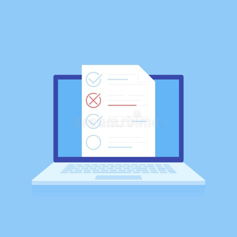Online testend, e-Leert, onderwijs isometrisch concept Vlak ontwerp, vectorillustratie op blauwe achtergrond royalty-vrije illustratie