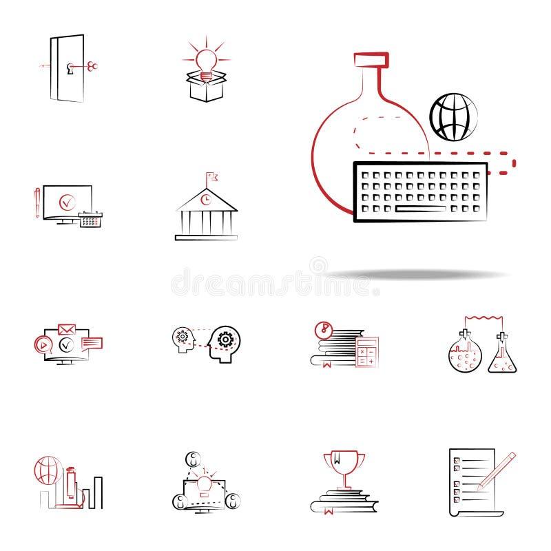online testspictogram Voor Web wordt geplaatst dat en het mobiele algemene begrip van onderwijspictogrammen royalty-vrije illustratie